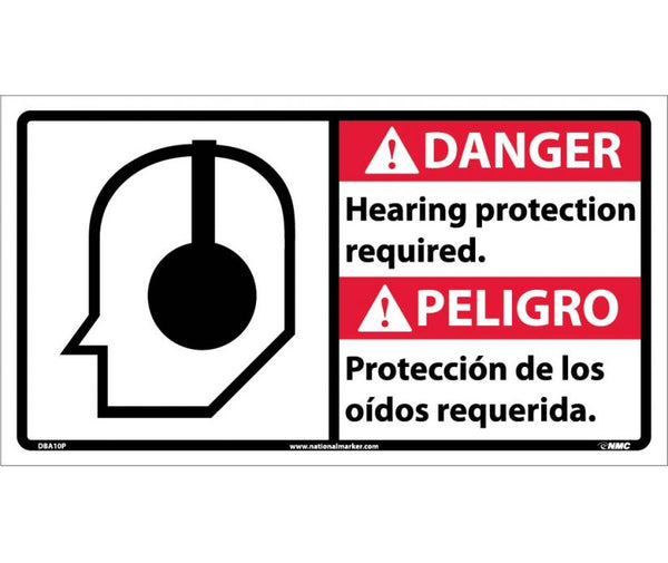 DBA10 National Marker Bilingual English and Spanish Signs Danger Hearing Protection Required