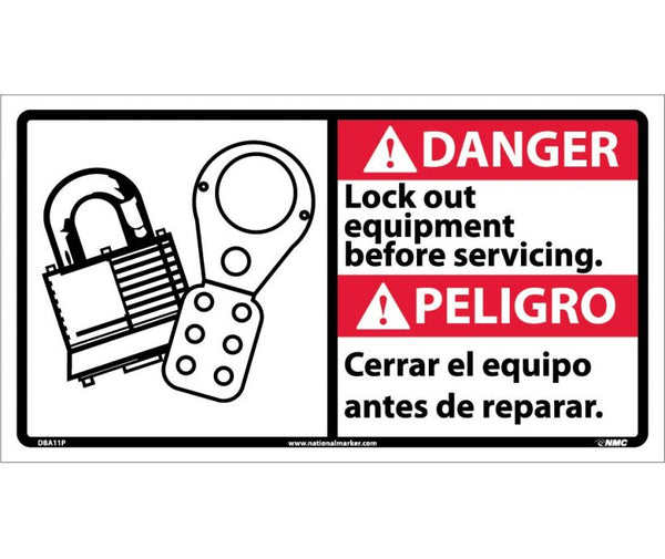 DBA11 National Marker Bilingual English and Spanish Signs Danger Lockout Equipment Before Servicing