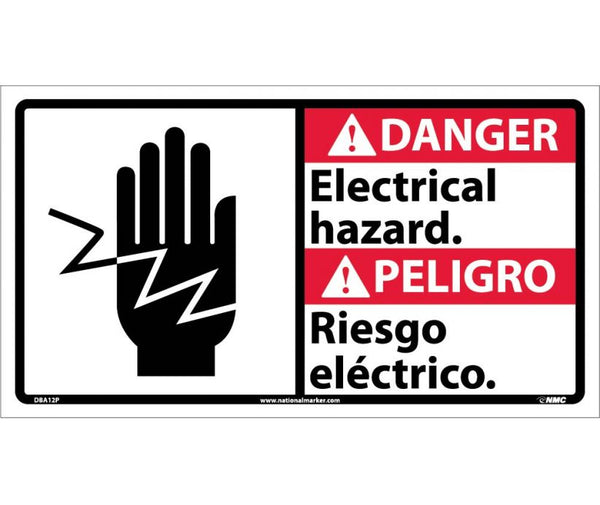 DBA12 National Marker Bilingual English and Spanish Signs Dagner Electrical Hazard