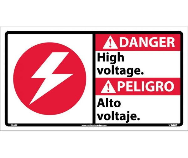 DBA3 National Marker Bilingual English and Spanish Signs Danger High Voltage