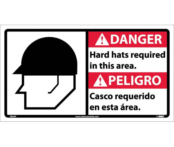 DBA4 National Marker Bilingual English and Spanish Signs Danger Hard Hats Required In This Area