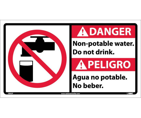 DBA5 National Marker Bilingual English and Spanish Signs Danger Non-Potable Water Do Not Drink