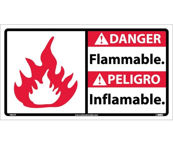 DBA7 National Marker Bilingual English and Spanish Signs Danger Flammable