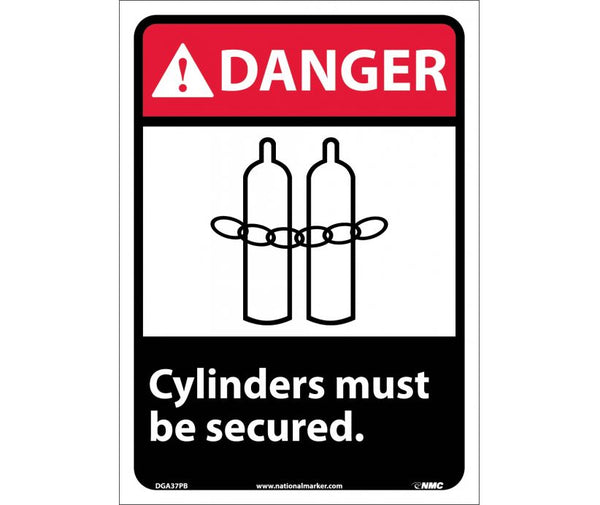 DGA37 National Marker Chemical and Hazardous Material Safety Signs Danger Cylinders Must Be Secured