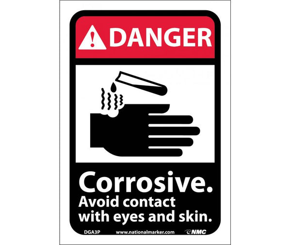 DGA3 National Marker Chemical and Hazardous Material Safety Signs Danger Corrosive Avoid Contact With Eyes And Skin