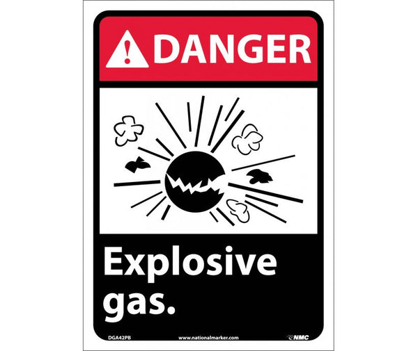 DGA42 National Marker Chemical and Hazardous Material Safety Signs Danger Explosive Gas