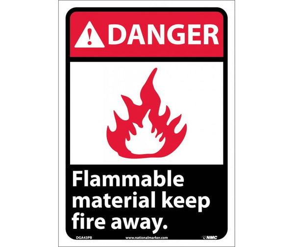 DGA43 National Marker Chemical and Hazardous Material Safety Signs Danger Flammable Material Keep Fire Away