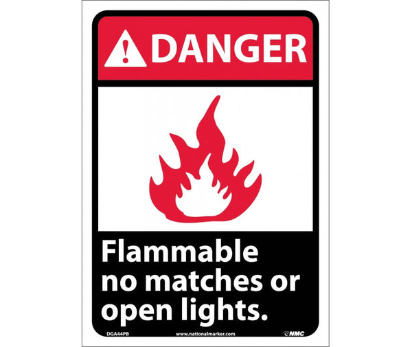 DGA44 National Marker Chemical and Hazardous Material Safety Signs Danger Flammable No Matches Or Open Lights