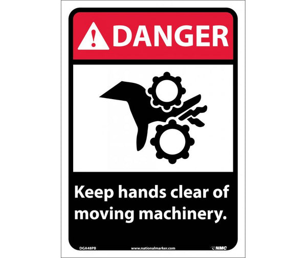 DANGER, KEEP HANDS CLEAR OF MOVING MACHINERY, 14X10, PS VINYL
