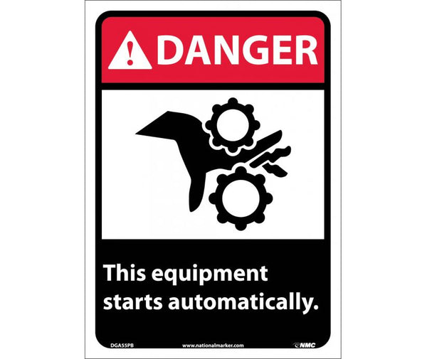 DANGER, THIS EQUIPMENT STARTS AUTOMATICALLY, 14X10, PS VINYL