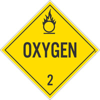 PLACARD, OXYGEN 2, 10.75X10.75, REMOVABLE PS VINYL, PACK 10