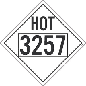 PLACARD, HOT, 3257, FOUR DIGIT, 10.75X10.75, TAG BOARD, CARD STOCK, PACK 50