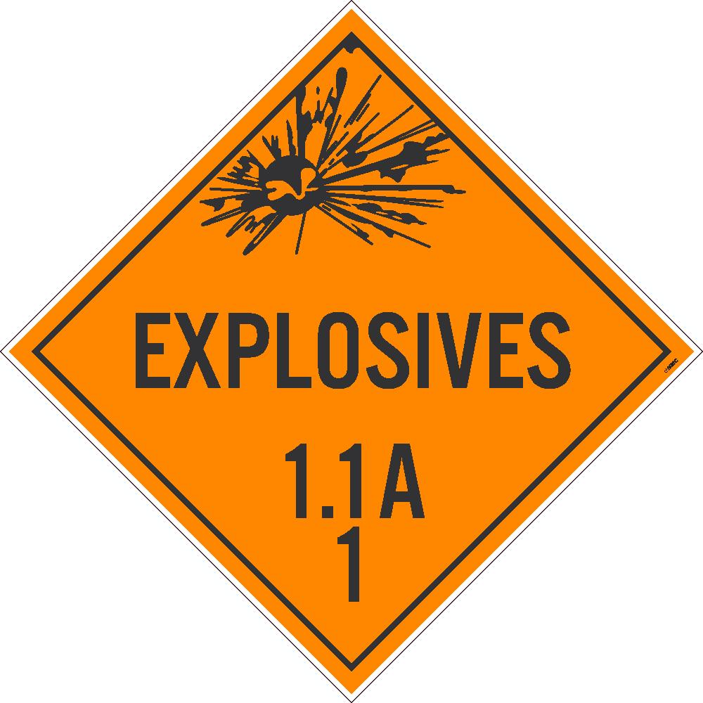 PLACARD, EXPLOSIVE 1.1A 1, 10.75X10.75, REMOVABLE PS VINYL, PACK 50