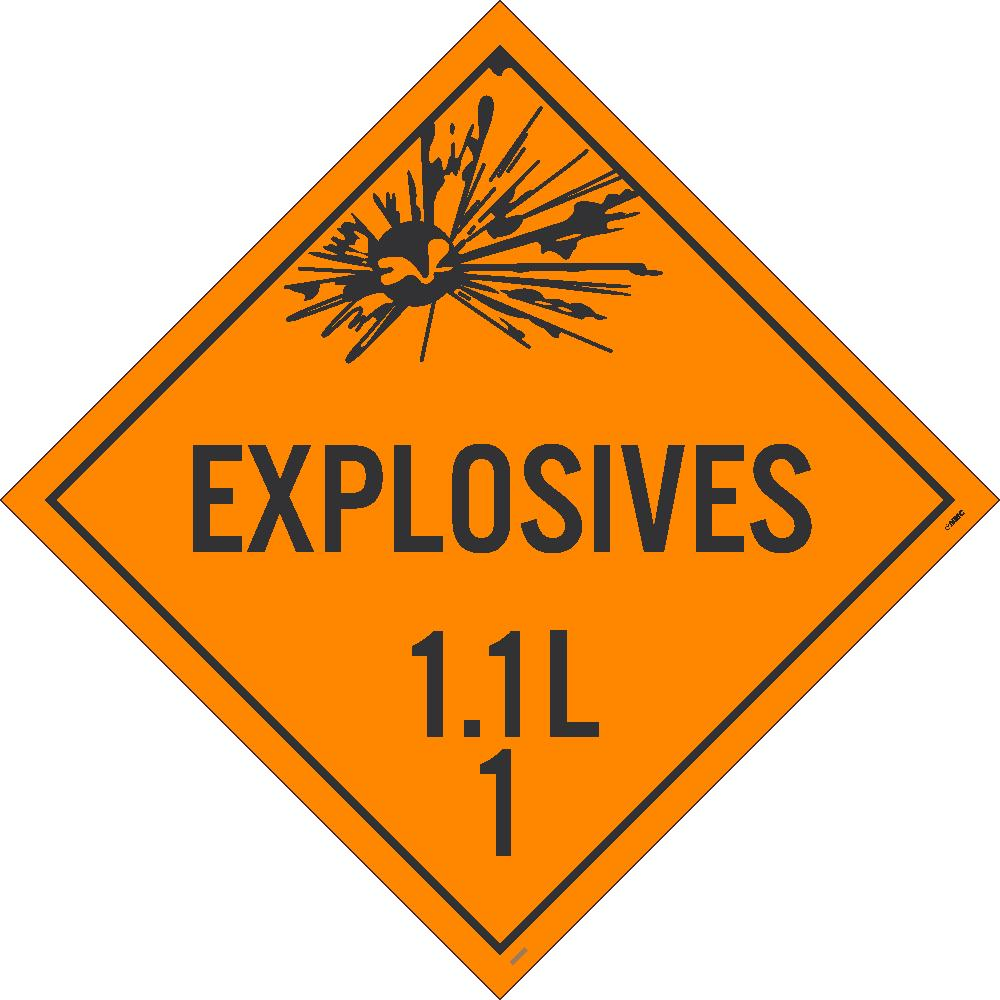 PLACARD, EXPLOSIVES 1.1L 1, 10 3/4X10 3/4, RIGID PLASTIC