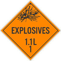 PLACARD, EXPLOSIVES 1.1L 1, 10.75X10.75, TAG BOARD