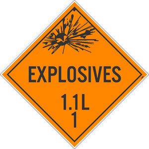 PLACARD, EXPLOSIVES 1.1L 1, 10.75X10.75, PVC, FLEXIBLE PVC, .015 UNRIPPABLE VINYL, PACK 25