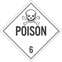 PLACARD, POISON 6, 10.75X10.75, TAG BOARD, CARD STOCK, PACK 10