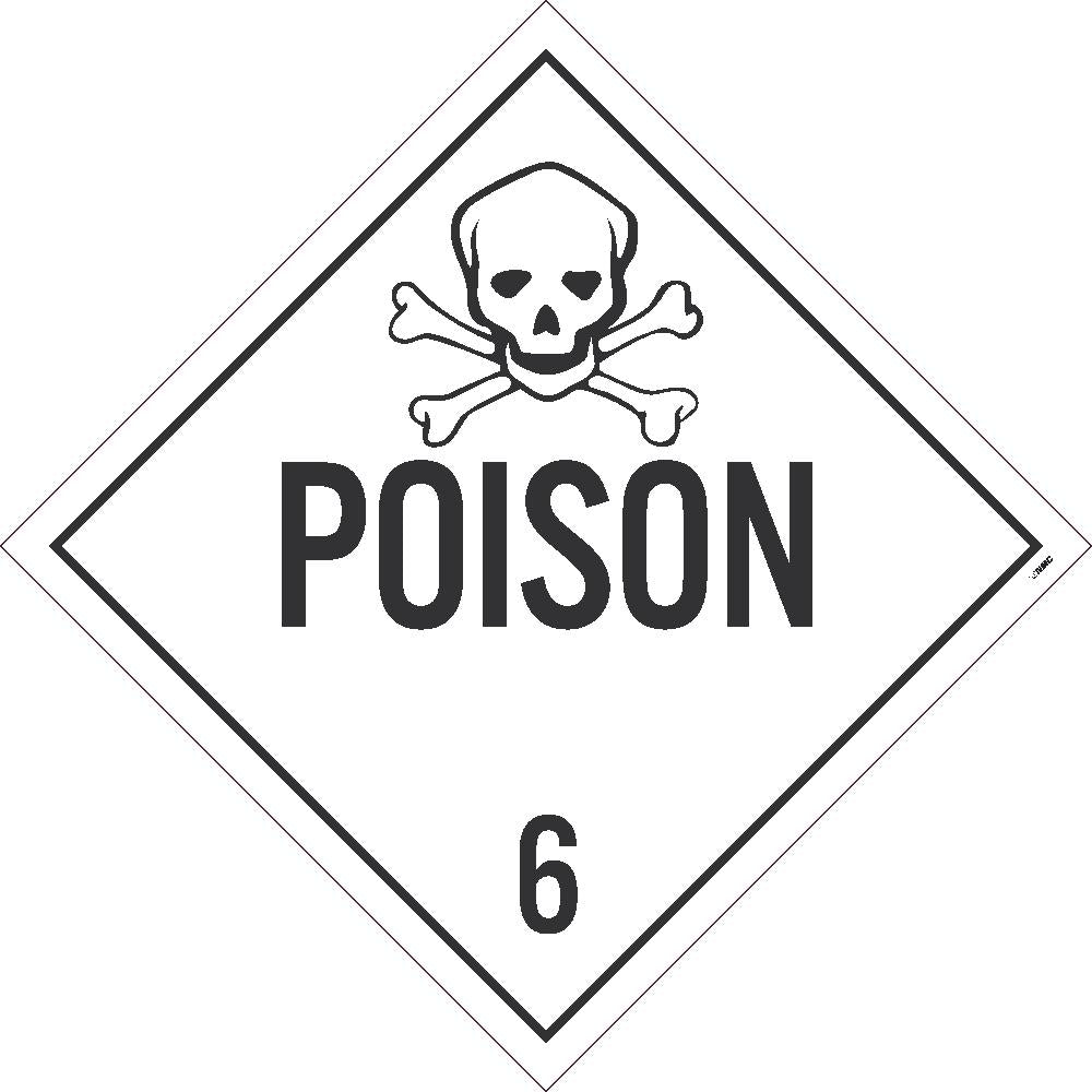 PLACARD, POISON 6, 10.75X10.75, TAG BOARD, CARD STOCK, PACK 25