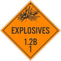 PLACARD, EXPLOSIVES 1.2B 1, 10.75X10.75, REMOVABLE PS VINYL, PACK 100