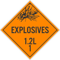 PLACARD, EXPLOSIVES 1.2L 1, 10.75X10.75, PRESSURE SENSITIVE VINYL .0045, PACK 10