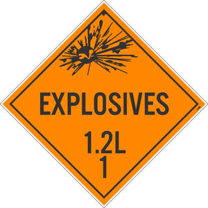 PLACARD, EXPLOSIVES 1.2L 1, 10.75X10.75, PVC, FLEXIBLE PVC, .015 UNRIPPABLE VINYL, PACK 50
