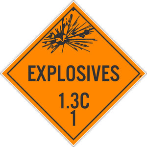 PLACARD, EXPLOSIVES 1.3C 1, 10.75X10.75, PRESSURE SENSITIVE VINYL .0045, PACK 50