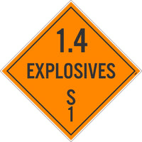 PLACARD, 1.4 EXPLOSIVES S 1, 10.75X10.75, REMOVABLE PS VINYL, PACK 100