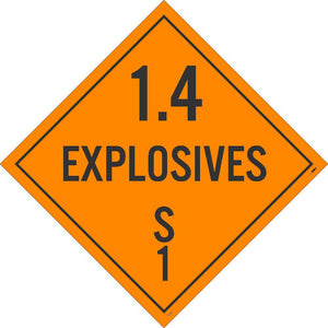 PLACARD, 1.4 EXPLOSIVES S 1, 10 3/4X10 3/4, RIGID PLASTIC
