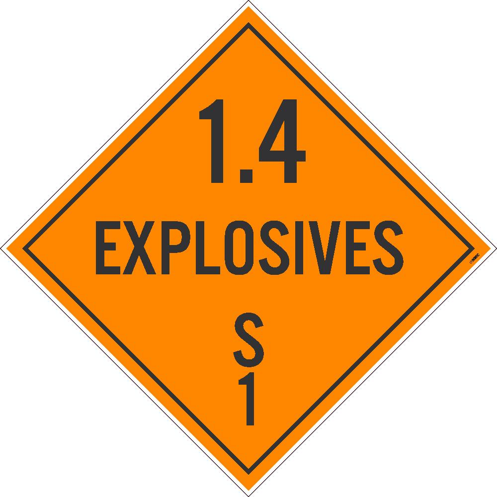 PLACARD, 1.4 EXPLOSIVES S 1, 10.75X10.75, PVC, FLEXIBLE PVC, .015 UNRIPPABLE VINYL, PACK 100