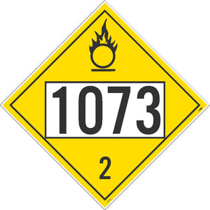 PLACARD, REFRIGERATED LIQUID OXYGEN, FOUR DIGIT 1073 3, 10.75X10.75, PS VINYL