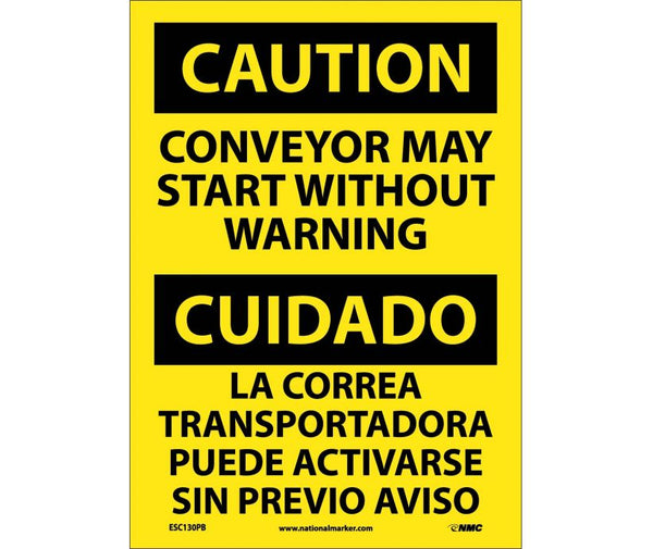 ESC130 National Marker Bilingual English and Spanish Signs Caution Conveyor May Start Without Warning