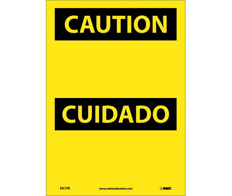 Header Only (Blank): Caution Bilingual Safety Signs (ESC1) | Each