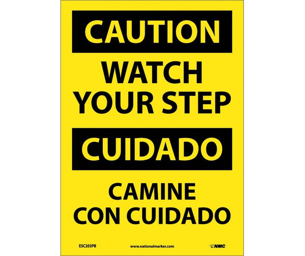 ESC203 National Marker Bilingual English and Spanish Signs Caution Watch Your Step
