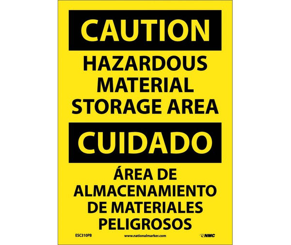 ESC310 National Marker Bilingual English and Spanish Signs Caution Hazardous Material Storage Area