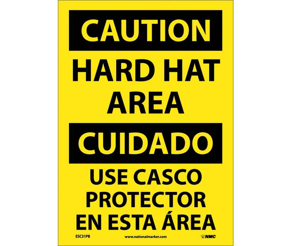 ESC31 National Marker Bilingual English and Spanish Signs Caution Hard Hat Area