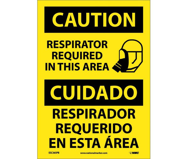 ESC365 National Marker Bilingual English and Spanish Signs Caution Respirator Required In This Area