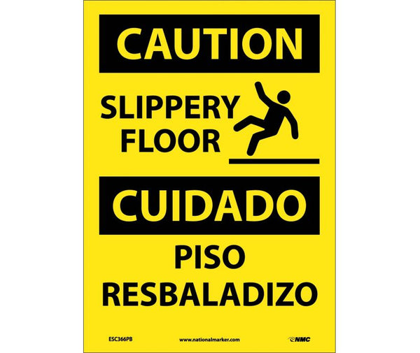 ESC366 National Marker Bilingual English and Spanish Signs Caution Slippery Floor