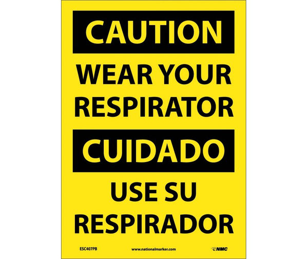 ESC407 National Marker Bilingual English and Spanish Signs Caution Wear Your Respirator
