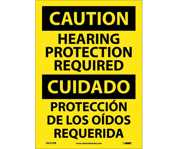 ESC513 National Marker Bilingual English and Spanish Signs Caution Hearing Protection Required