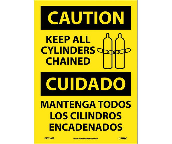 ESC530 National Marker Bilingual English and Spanish Signs Caution Keep All Cylinders Chained