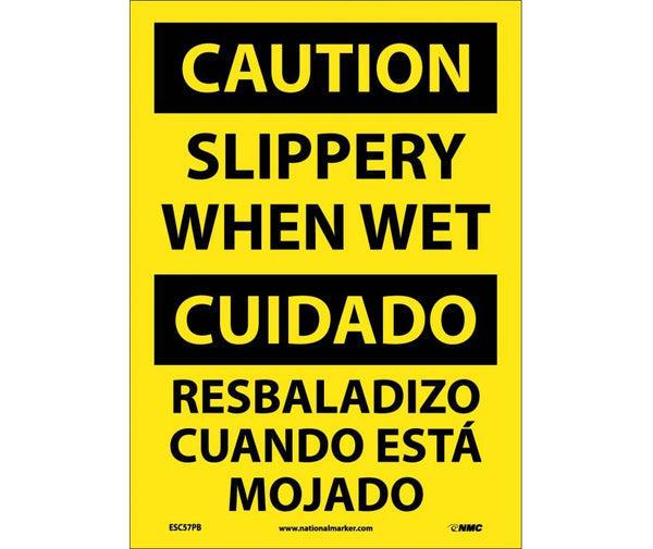 ESC57 National Marker Bilingual English and Spanish Signs Caution Slippery When Wet