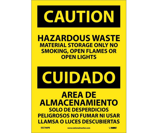 ESC706 National Marker Bilingual English and Spanish Signs Caution Hazardous Waste Material Storage Only No Smoking Open Flames Or Open Lights