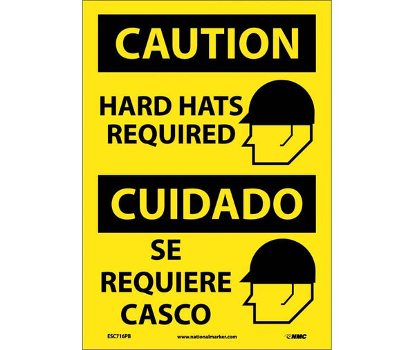 ESC716 National Marker Bilingual English and Spanish Signs Caution Hard Hats Required