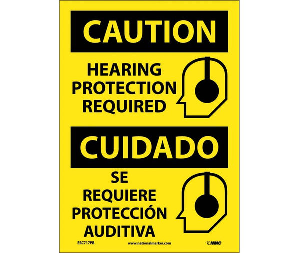 ESC717 National Marker Bilingual English and Spanish Signs Caution Hearing Protection Required