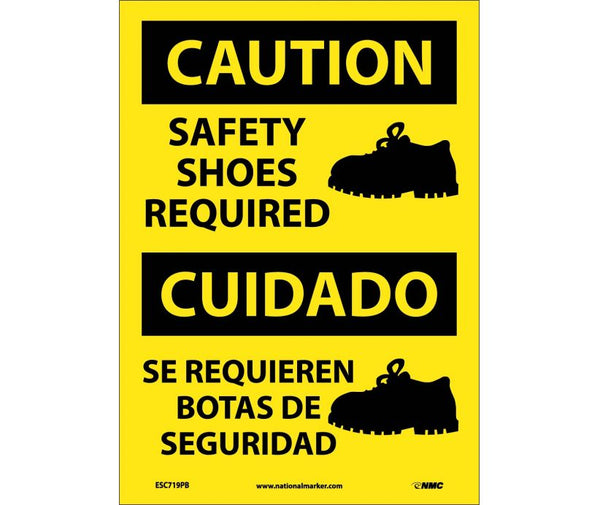ESC719 National Marker Bilingual English and Spanish Signs Caution Safety Shoes Required