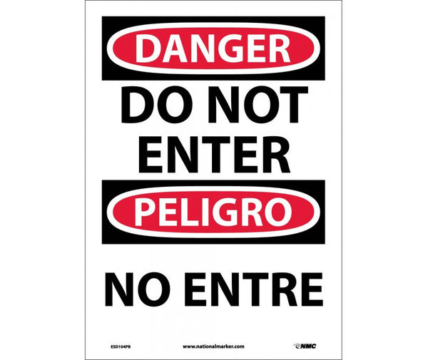 ESD104 National Marker Bilingual English and Spanish Signs Danger Do Not Enter