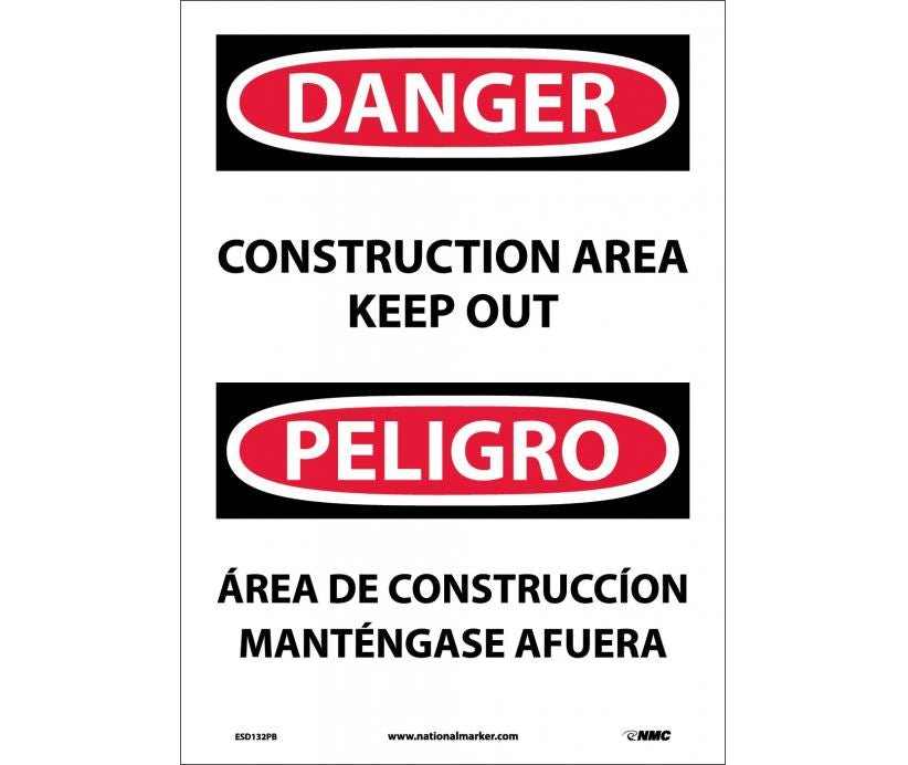 "ESD132PB National Marker Danger Construction Area Keep Out Bilingual Safety Sign 14"" x 10"" .004 Adhesive Backed Vinyl"