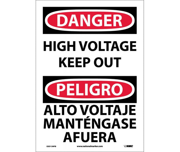 ESD139 National Marker Bilingual English and Spanish Signs Danger High Voltage Keep Out