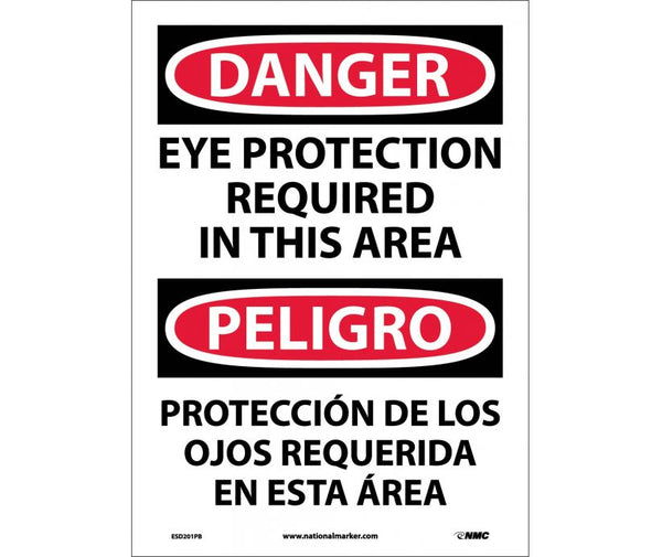 ESD201 National Marker Bilingual English and Spanish Signs Danger Eye Protection Required In This Area