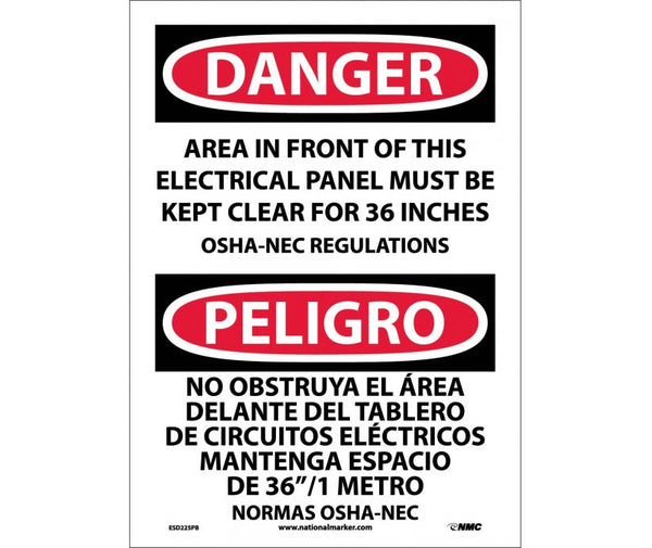 ESD225 National Marker Bilingual English and Spanish Signs Danger Area In Front Of This Electric al Panel Must Be Kept Clear For 36 Inches OSHA-NEC Regualtions
